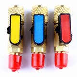 3Pcs Color coded R410A Straight Ball Valves For AC Freon Charging Hose