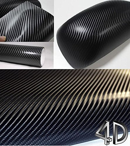"4D Black Carbon Fiber Vinyl Wrap Sticker Bubble Free anti-wrinkle 5 x 2FT 60""x 24"""