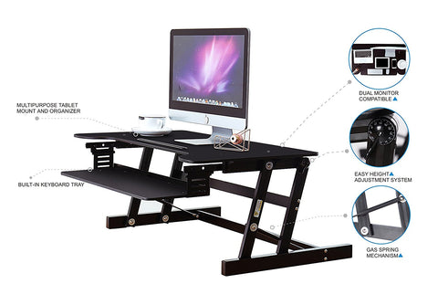 "Height Adjustable Standing Desk | Quick Up Down Stand Up Desk 36"" Wide"