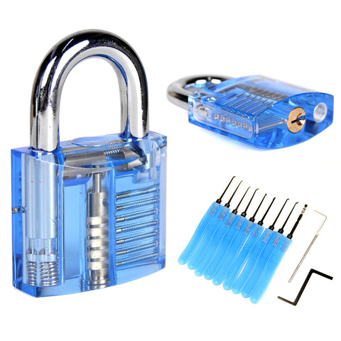 Locksmith Training 11 Pcs Padlock Practice Tools w/Cutaway Transparent