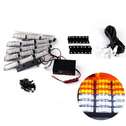 Emergency Strobe Lights 54 WHITE AMBER LED Yellow Bars Deck Dash Grill