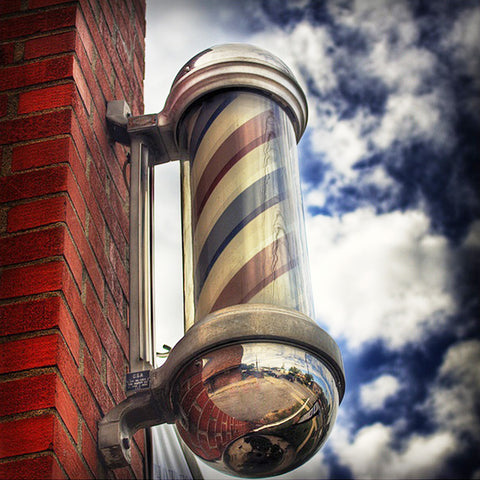 "Barber Pole 30"" LED Red White Blue Stripes Rotating Light Bulb Sign"