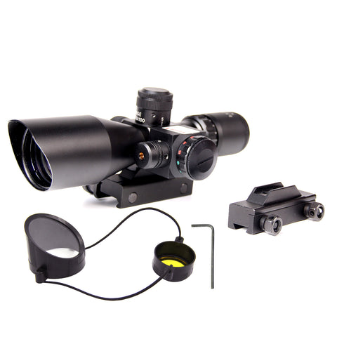 2.5-10x40 AO Red Green Illuminated Mil-dot Tactical Rifle Scope w/Red Laser