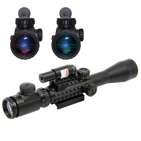 Tactical Rifle Scope 3-9X40 w/Red Laser & Holographic Dot Sight