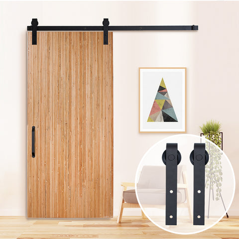 6.6 FT Steel Sliding Barn Door Hardware Set Black One-Piece Rail - SDH-0023-BK