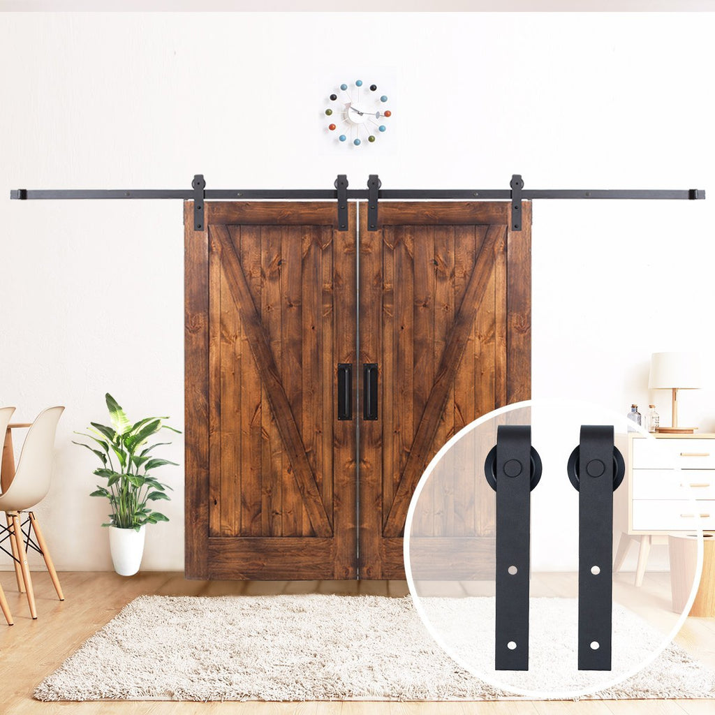 13 Ft Black Double Barn Sliding Door Hardware Set Steel Track Black