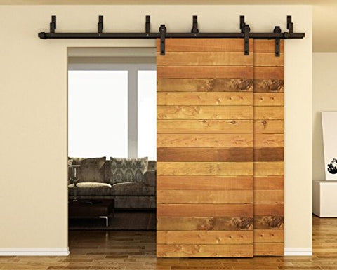 6.6FT Bypass Double Door Sliding Barn Door Hardware (Black) (J Shape Hangers)