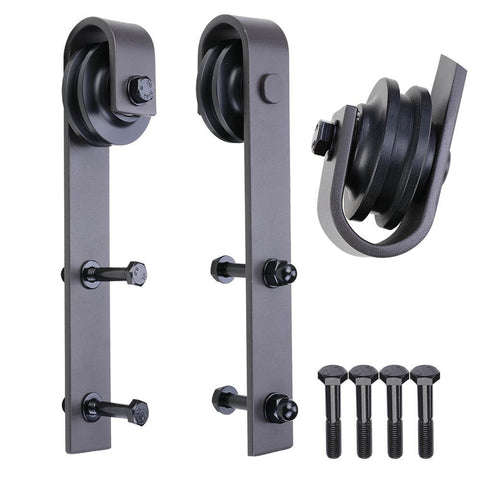 TCBunny Sliding Barn Door Hardware Antique Style Roller - Black (2 Pack) - SDH-R230-02