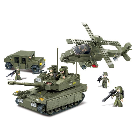 US Army K-1 Tank & Hind Helicopter & Military Vehicle Building Blocks Toy