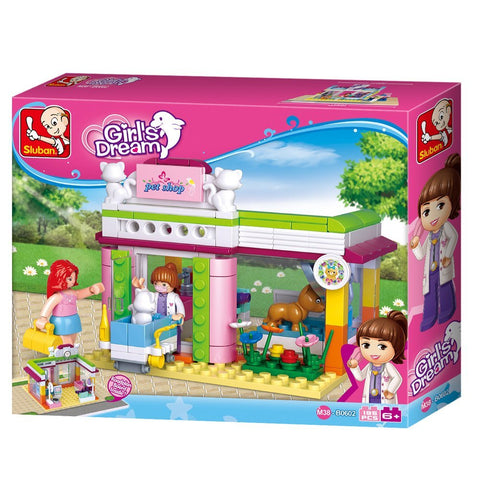Sluban Pet Store Dog Cat Shop Pink Dream Series Blocks Shop Bricks Toy Fits LEGO