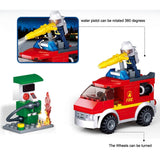 Sluban Fire Engines & Petrol Station Firefighting Series Blocks Vehicle Bricks Toy Fits LEGO