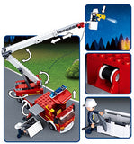 Sluban Elevating Platform Fire Truck & Helicopter Firefighting Series Blocks Vehicle Bricks Toy Fits LEGO