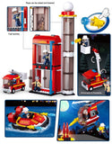 Sluban Fire Training Building Helicopter Truck Fireboat Firefighting Series Blocks Vehicle Bricks Toy Fits LEGO