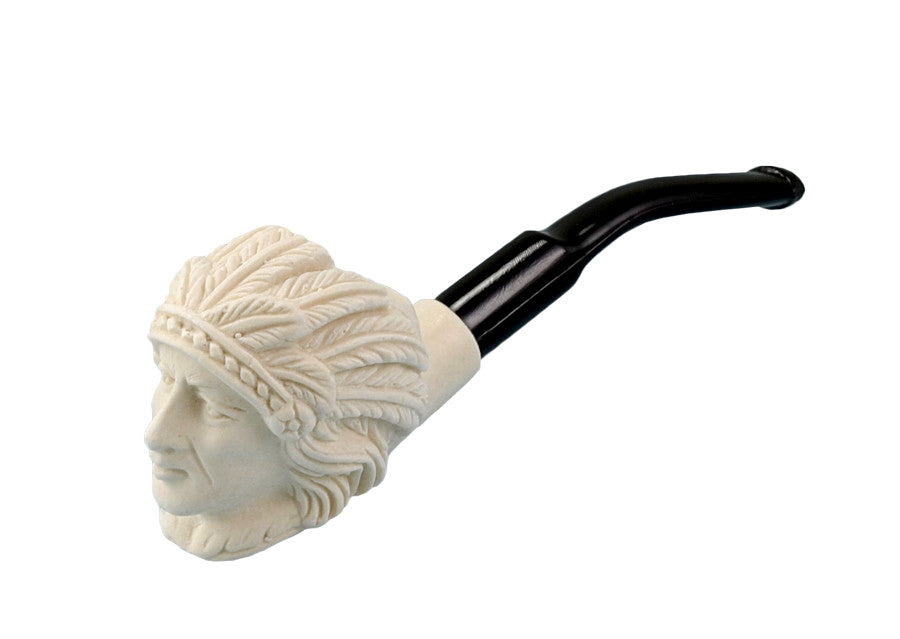 Hand Carved Small Meerschaum Pipe-Indian Chief