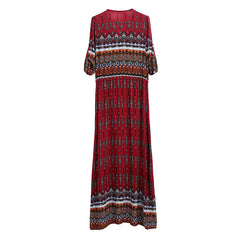 European Casual Floral Print Maxi Long Dress