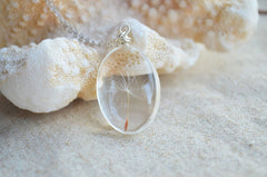 Original One Lucky Wish Dandelion Seed Glass Pendant on Sterling Silver Chain