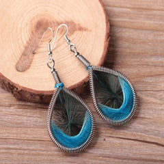 Infinity Loop Feather String Earrings