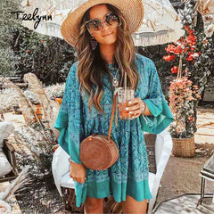 TEELYNN short boho dress green rayon Floral print mini dresses summer o-neck beach dress loose chic women dress Hippie vestidos