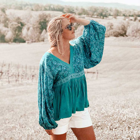 Floral Print Autumn V-Neck Blouse