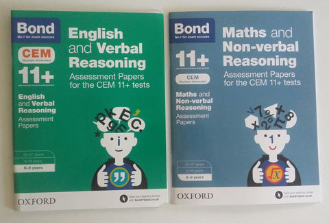 Bond 11+ English Verbal & Maths Non verbal reasoning Ages 8-9 yrs 2 book set - Children Store Co.