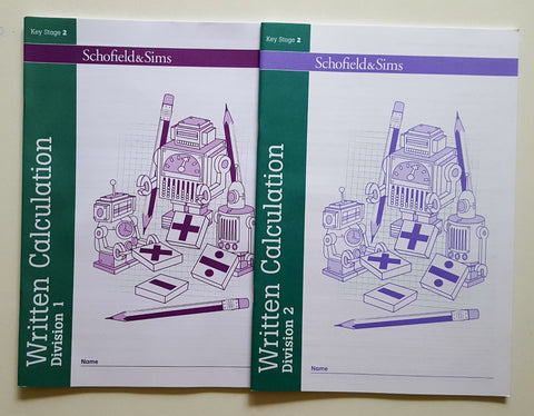Written Calculation by Division 1 & 2 by Schofield & Sims (Pack of 2) books