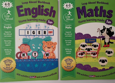 Leap ahead Maths and English ages 4-5, (2 books set) NEW!!!! - Children Store Co.