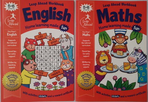 Leap ahead English & Maths workbook ages 5-6 New!!! - Children Store Co.