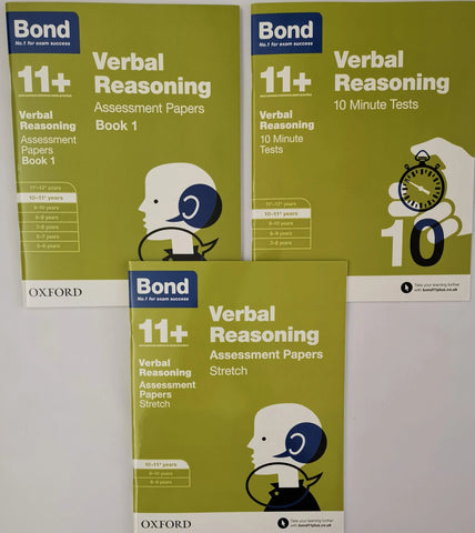 Bond 11+ Verbal Reasoning (3 Books collection) Ages 10-11 Years - Children Store Co.