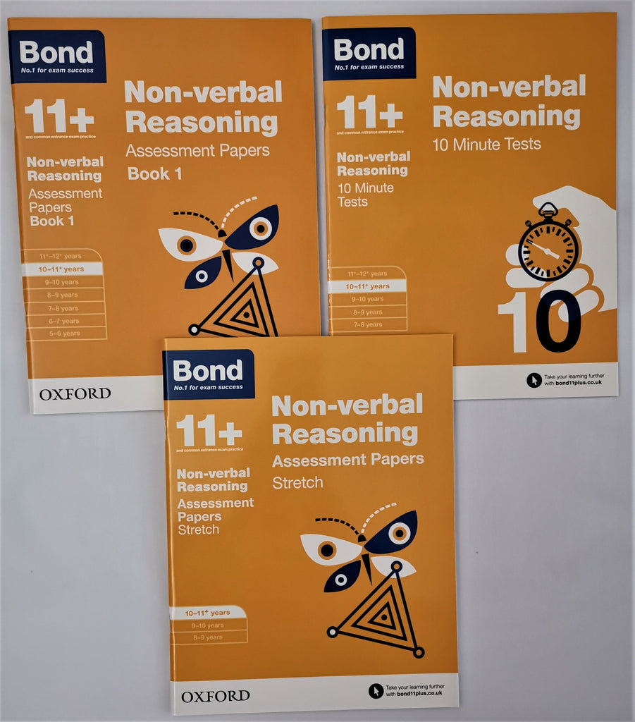 Bond 11+ Non Verbal Reasoning (3 Books collection) Ages 10-11 Years - Children Store Co.