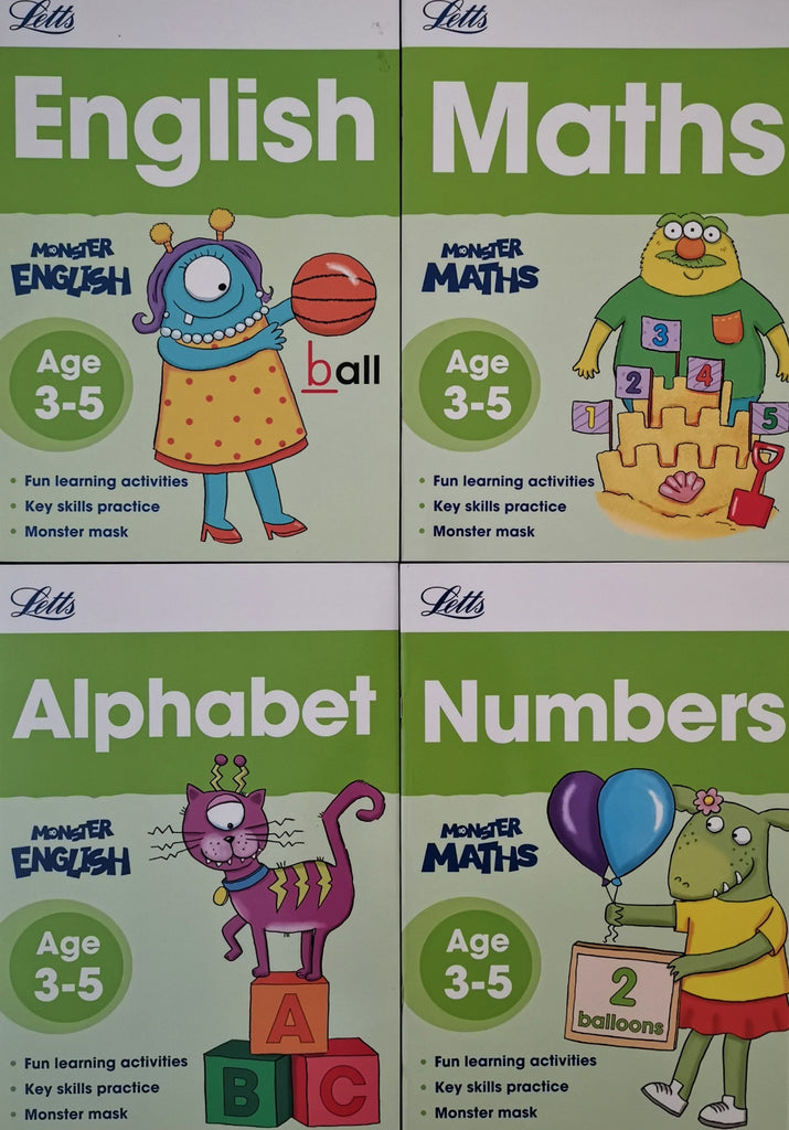Letts Monster Practice English & Maths  Ages 3+ (Set of 4 books) Brand New!!!! - Children Store Co.