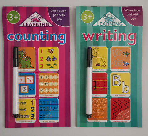 First time Learning Counting and Writing Wipe Clean Pad with Pen (2 Books Set) - Children Store Co.