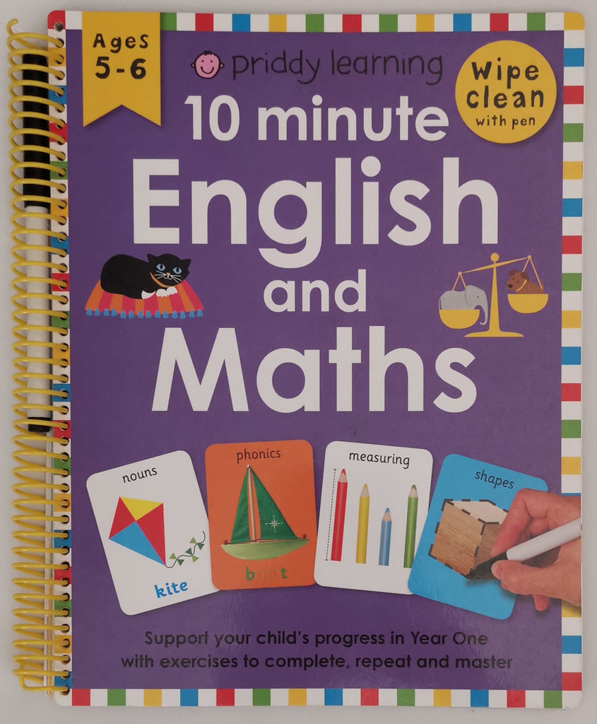 Kids/Children 10 Minute Maths and English Wipe Clean Ages 5-6 KS1 by Priddy Learning - Children Store Co.