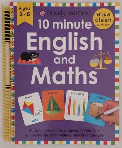 10 Minute Maths and English Wipe Clean Ages 5-6 by Priddy Learning - Children Store Co.