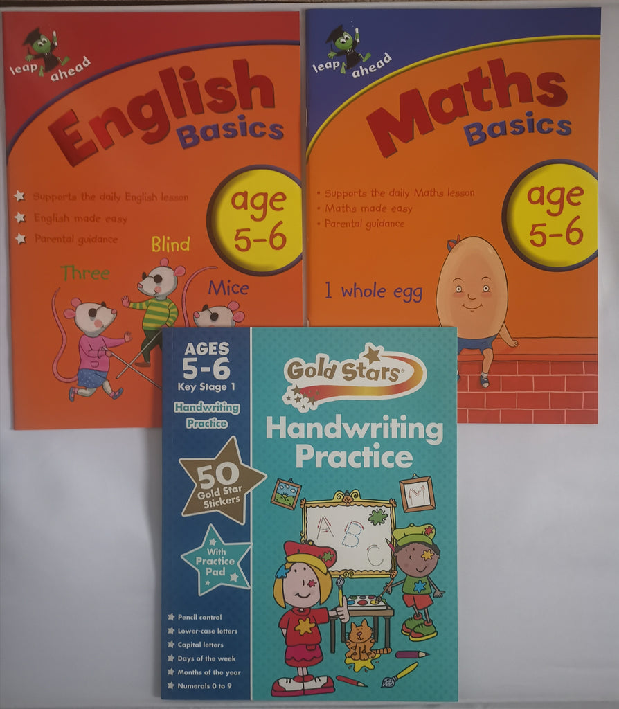 Leap ahead English & Maths Basics workbook + Handwriting Workbook ages 5-6 New!!! - Children Store Co.