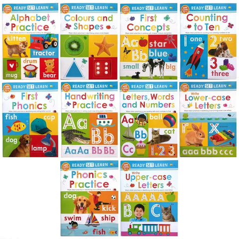Pre School Kids Ready Set Learn Wipe-Clean Workbook Collection with Pen 10 Books