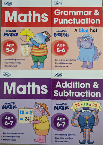Kids/Children Home Learning Letts Monster Practice Workbooks KS1 Ages 5-7 (4 Books Collection) - Children Store Co.