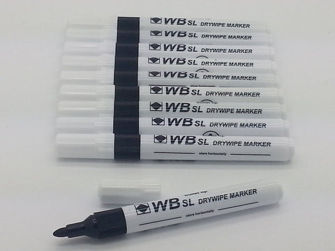 Dry wipe clean pen white board & books for kids eraseable marker BLACK non Toxic 5 Markers