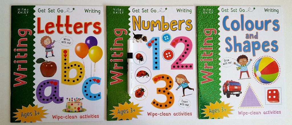 Learn to write by Miles kelly (set of 3 wipe clean workbooks) PEN INCLUDED!!!!! - Children Store Co.