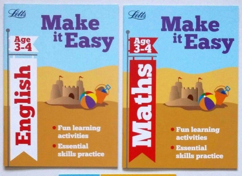 Letts Make it Easy English & Maths Ages 3-4 yrs (set of 2 workbooks) - Children Store Co.