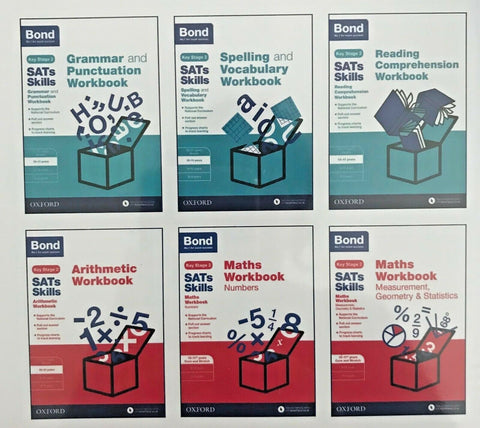 BOND SATs SKILLS ENGLISH & MATHS Practice Workbooks 10-11+ Yrs (Set of 6 books) - Children Store Co.