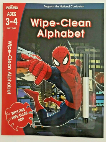 Marvel Spider Man Wipe clean Alphabet Workbook NEW!!! - Children Store Co.