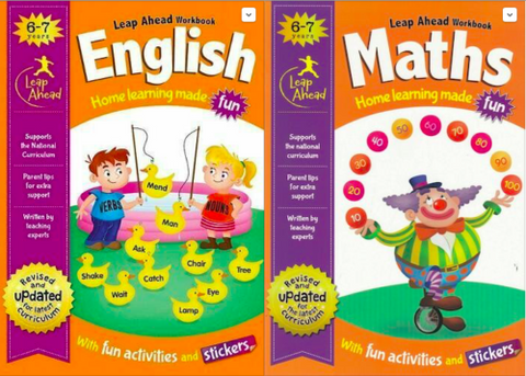 Leap ahead English Maths (Set of 2 workbooks) ages 6-7 New!!!! - Children Store Co.