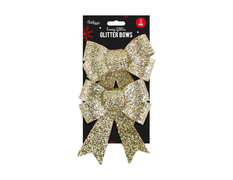 Gold Glittered Christmas Large Bows - 2 Pack - Children Store Co.