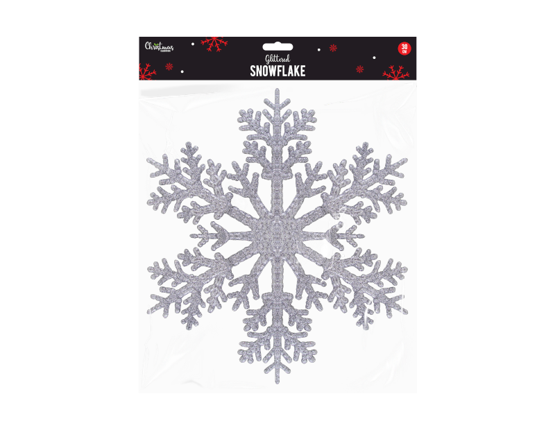 Christmas Silver Glittered Snowflake 30cm - Children Store Co.