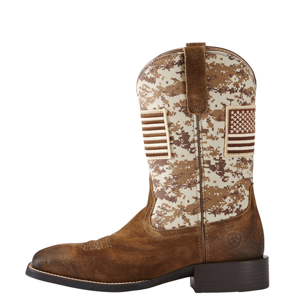 Ariat Mens Sport Patriot Antique Mocha Sand Camo Boot 10019959