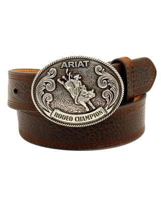 Ariat Western Belt Boys Leather Bull Rider Buckle Etched A1305802
