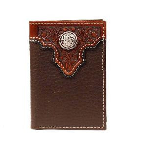 Ariat Western Wallet Mens Trifold Tooled Leather Concho