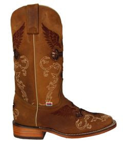 RockinLeather Womens Brown Square Toe Western Boot