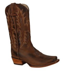 2561 RockinLeather Womens Distressed Brown Square Toe Western Boot