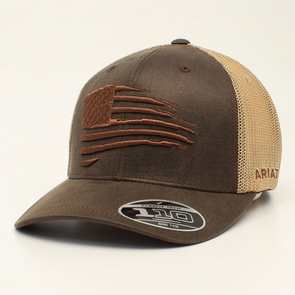 Ariat Flag Brown Tan Mesh Snapback Cap